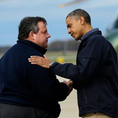 Chris Christie and Barack Obama post-Sandy